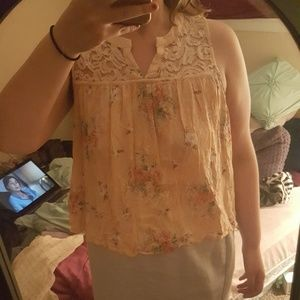 Lace and floral blouse